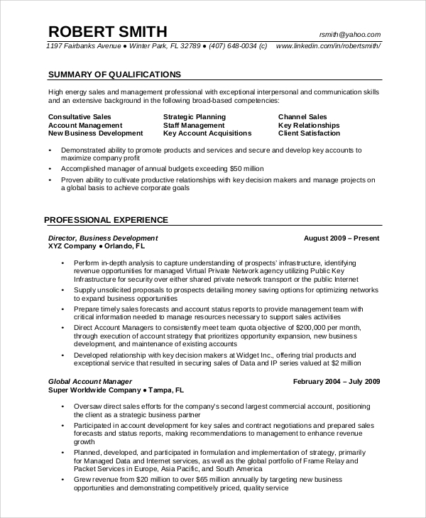 resumes for professionals with experience