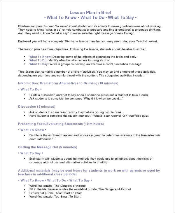 9 Sample Lesson Plans Sample Templates
