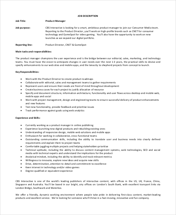 It Product Manager Job Description