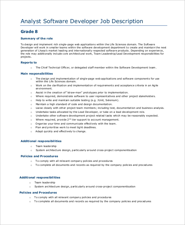 software developer analyst job description - Responsibilities Of A Software Engineer