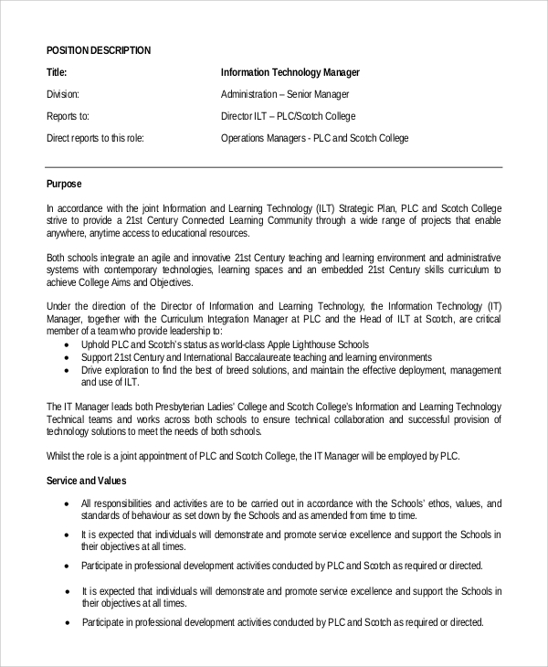 Sample IT Manager Job Description 7 Examples in PDF – Job Description Form Sample
