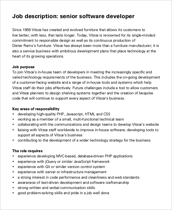 Sample Software Developer Job Description   Examples In Pdf