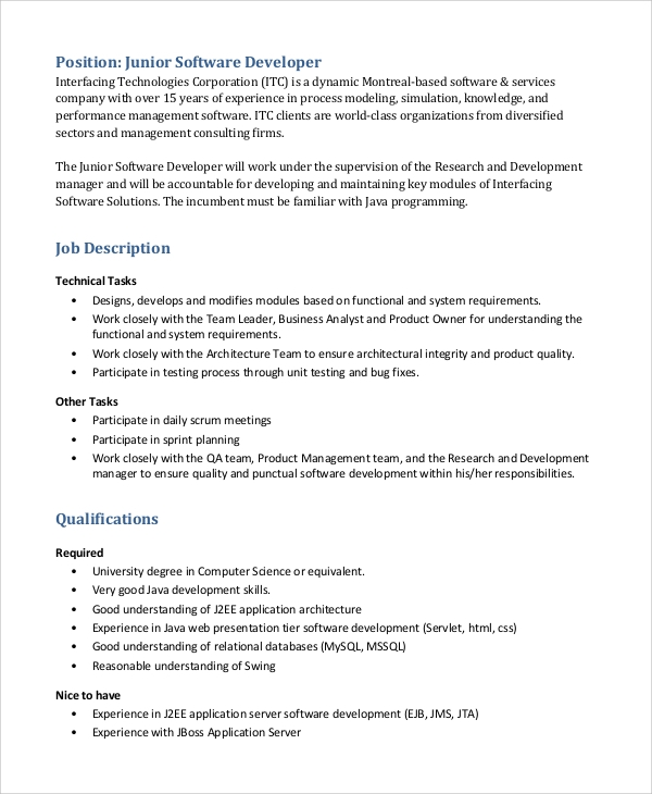 junior software developer job description. Resume Example. Resume CV Cover Letter