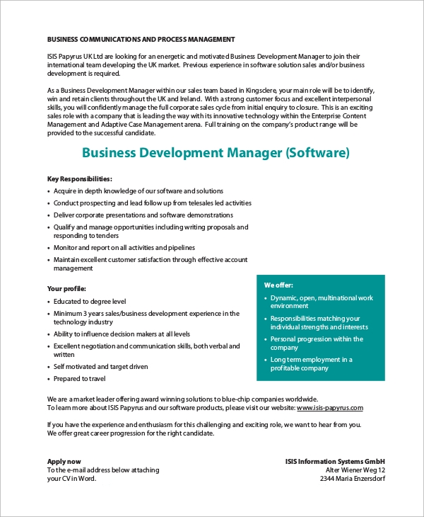 Delightful Sample Software Developer Job Description   9+ Examples In Pdf