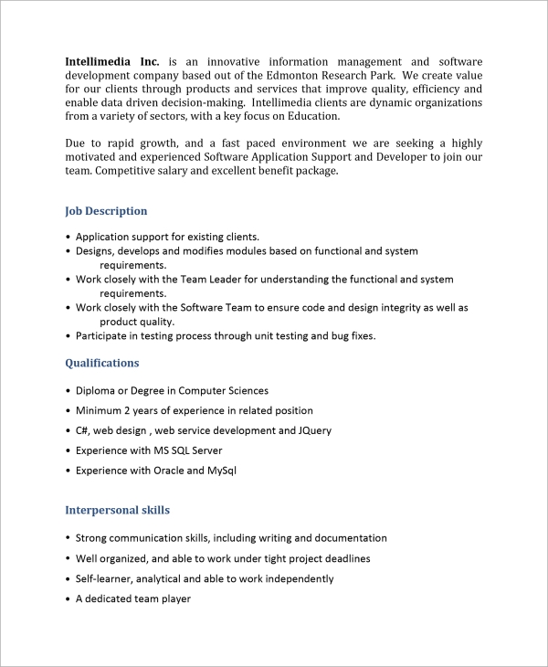 sample software developer job description 9 examples in pdf