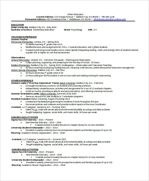 resume sample in word 8 examples in word