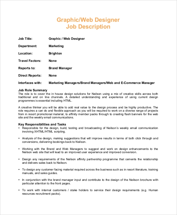 Sample Web Designer Job Description   Examples In Pdf
