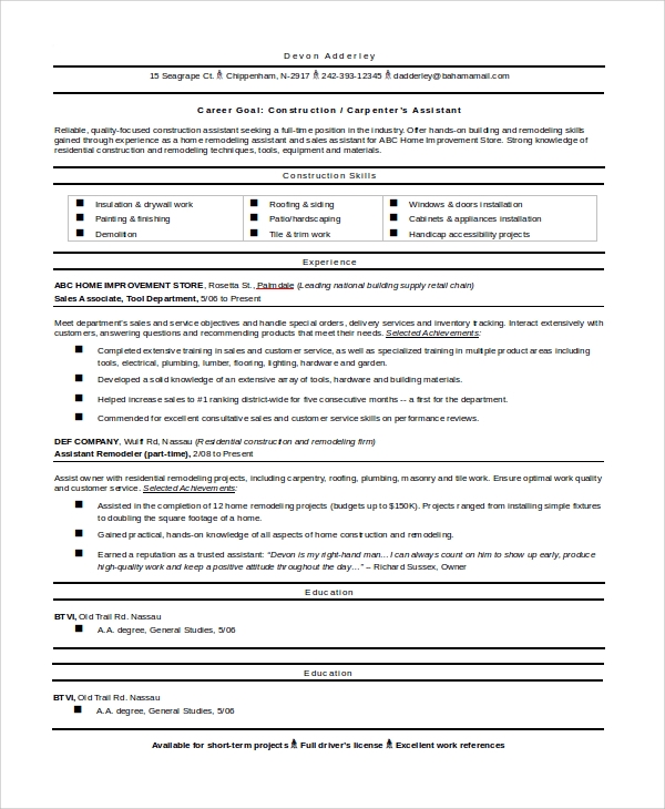 9 sample construction resumes sample templates