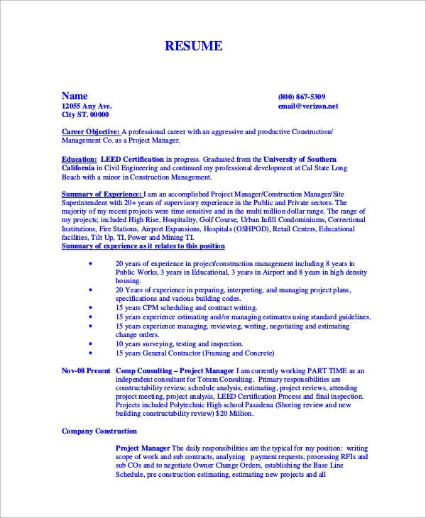 Resume templates for construction estimators