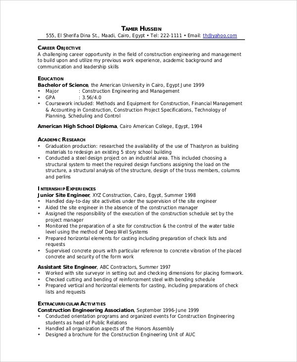 engineering construction resume