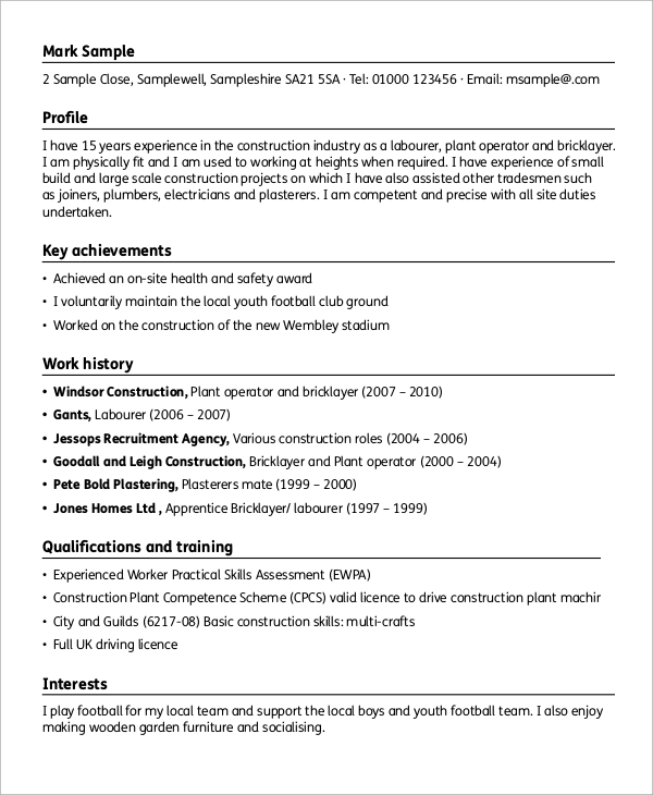 sample construction resume 9 examples in word pdf