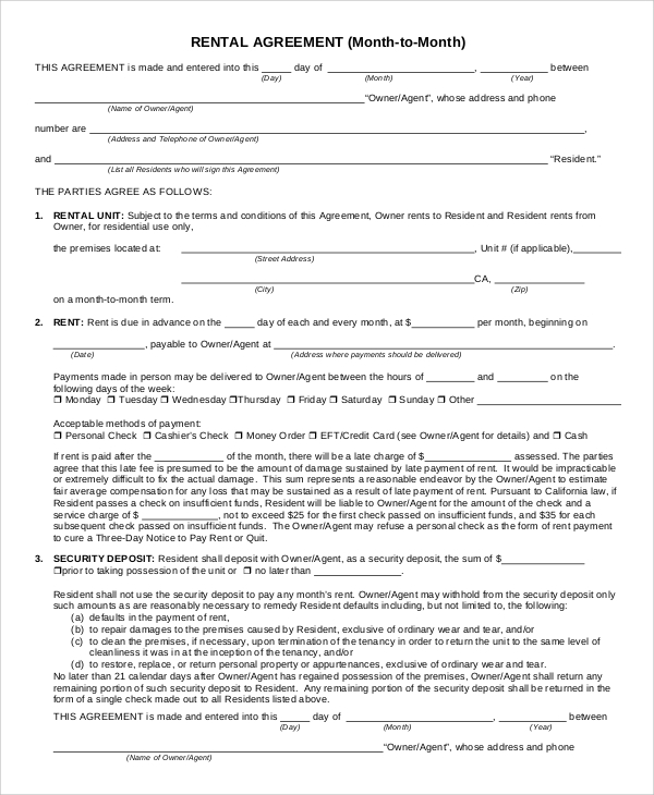 Sample Rental Agreement Form 9 Examples In Pdf Word
