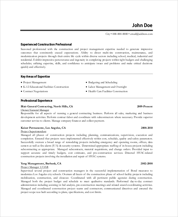 experienced construction resume