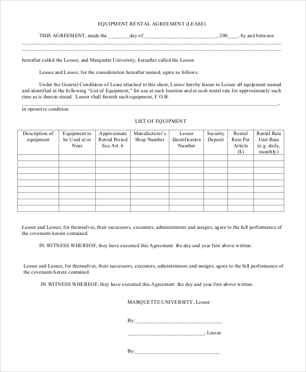 Sample Rental Agreement Form   Examples In  Word