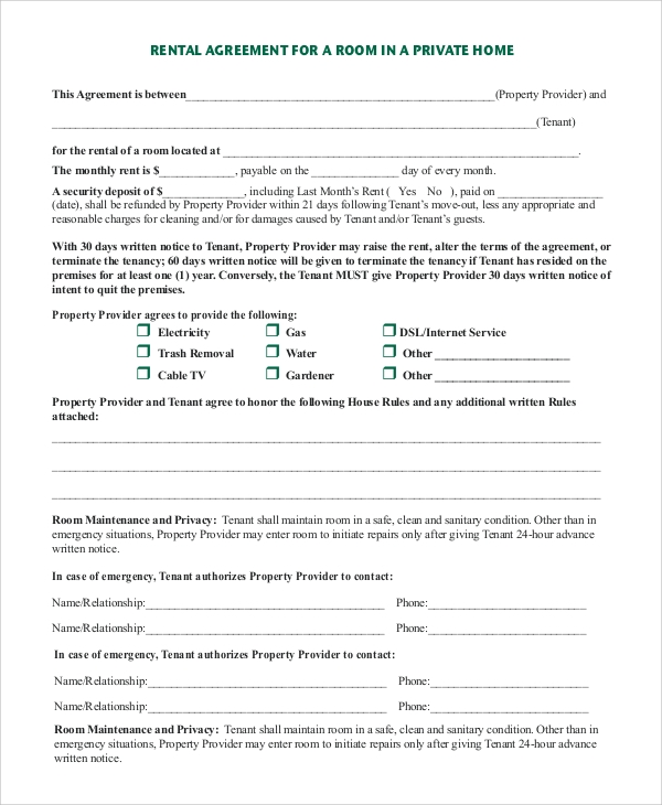Sample Rental Agreement Form   Examples In Pdf Word
