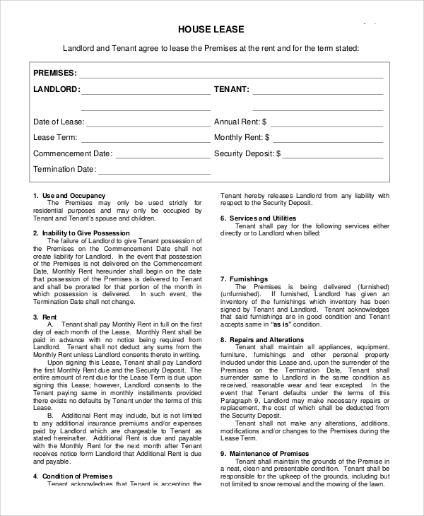 [ House Lease Agreement Format Rental ] Best Free Home