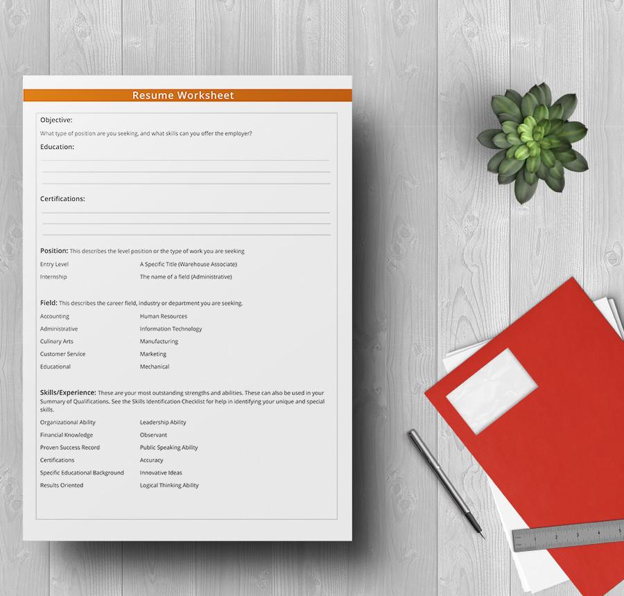 4  free sample worksheets