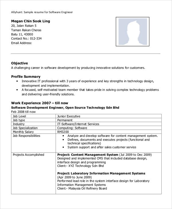 8+ Sample Software Engineer Resumes | Sample Templates