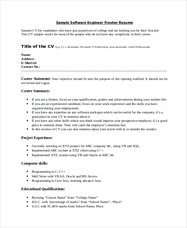resume format for software developer fresher beautiful endearing