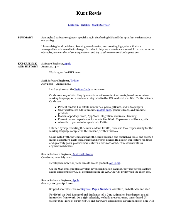 Sample Software Engineer Resume   Examples In Word Pdf