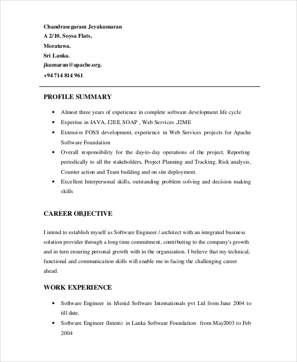 software engineer resume summary