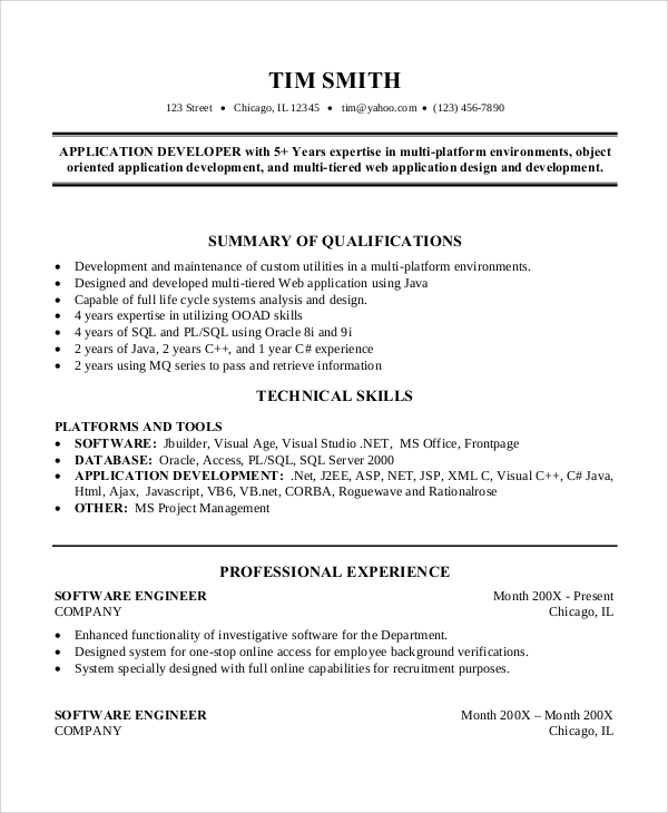 professional software engineer resume - Senior Software Engineer Sample Resume