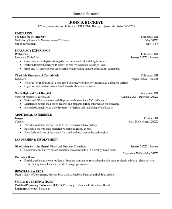 Sample Pharmacy Technician Resume   Examples In Word Pdf