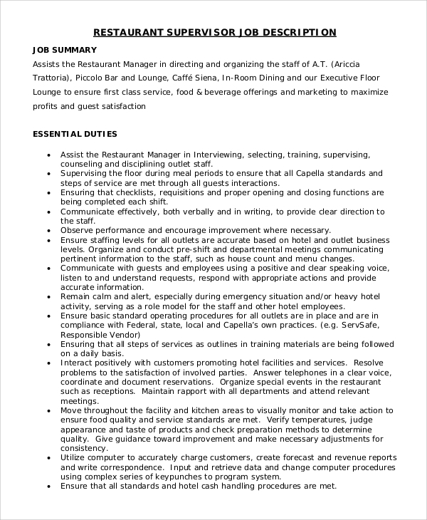 Restaurant floor supervisor job description meze blog for Floor description