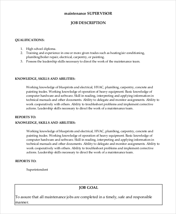 Sample Supervisor Job Description  MayotteOccasionsCo