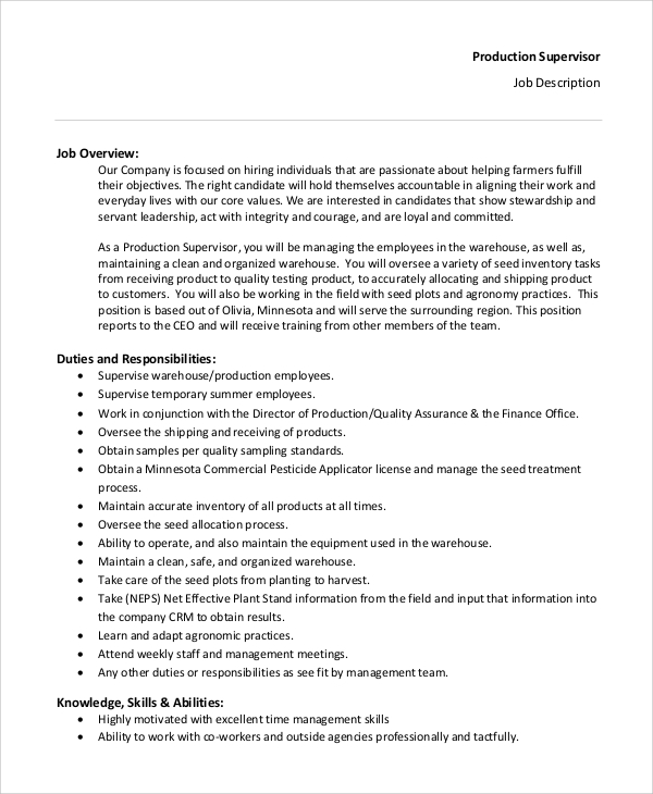Sample Supervisor Job Description 8 Examples in PDF – Supervisor Job Description