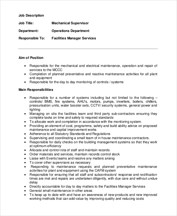 Sample Supervisor Job Description   Examples In Pdf