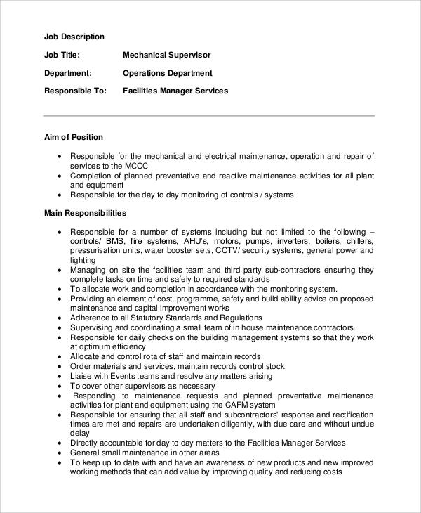 similiar maintenance manager job description keywords