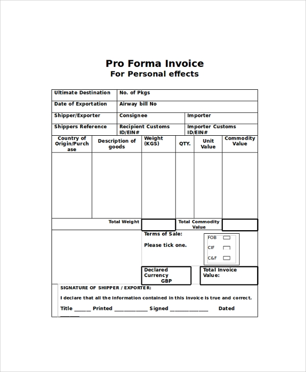 pro forma invoice word
