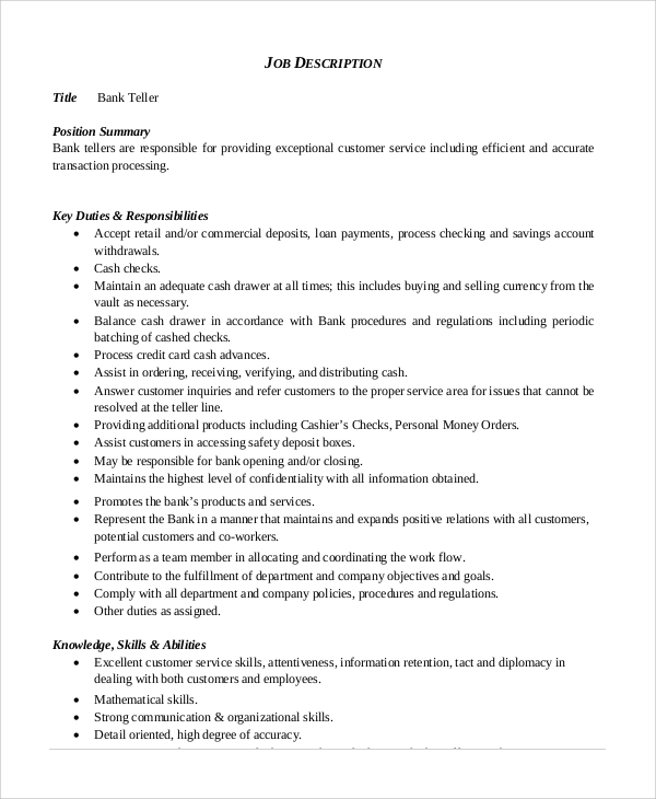 Sample Bank Teller Job Description 8 Examples In Pdf
