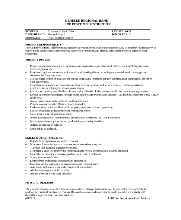 Sample Bank Teller Job Description 8 Examples in PDF – Bank Teller Job Description
