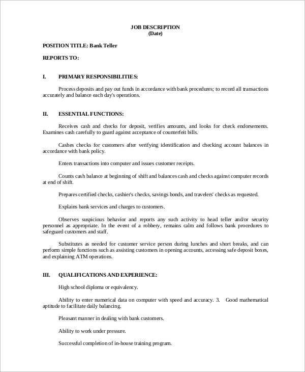 Sample Bank Teller Job Description 8 Examples In Pdf