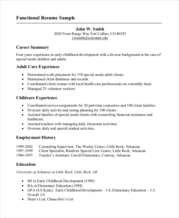 functional resume example for job