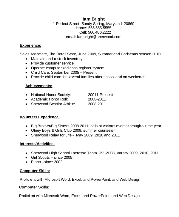 resume example for job 8 samples in word pdf doc - Sample Resume For High School Student
