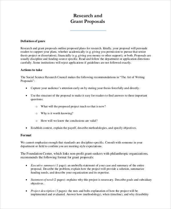 Sample Research Proposal   Examples In Pdf Word