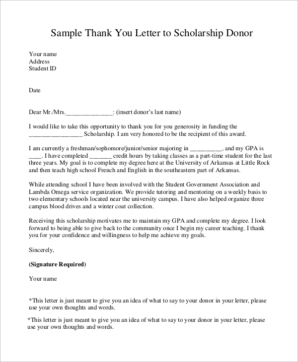 Sample Scholarship Thank You Letter   Examples In Word Pdf