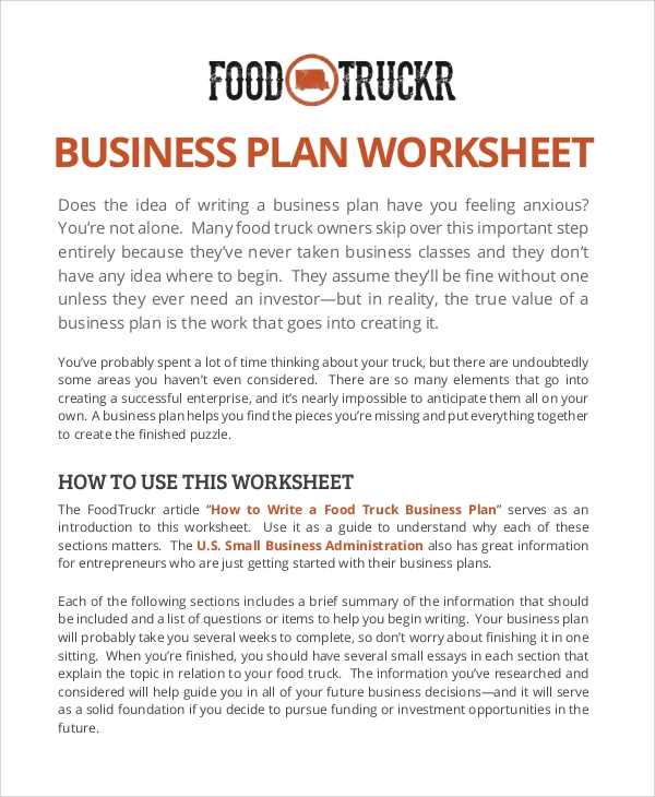 Sample Food Truck Business Plan   Examples In Pdf