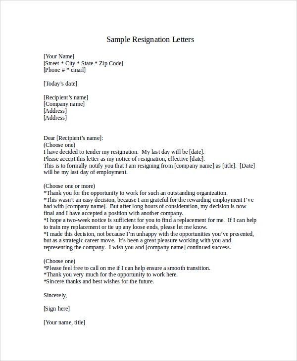 Sample Resignation Letter With 2 Week Notice 6 Examples