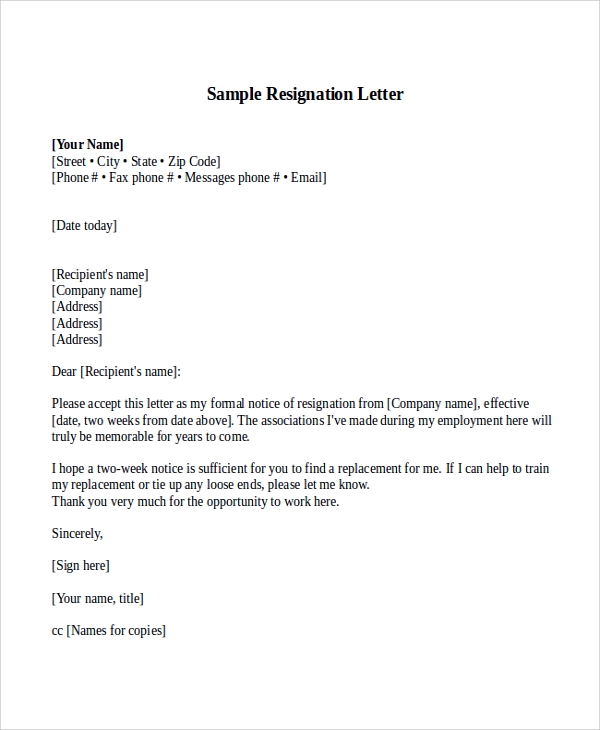 Sample Resignation Letter With 2 Week Notice 6 Examples In Word Pdf
