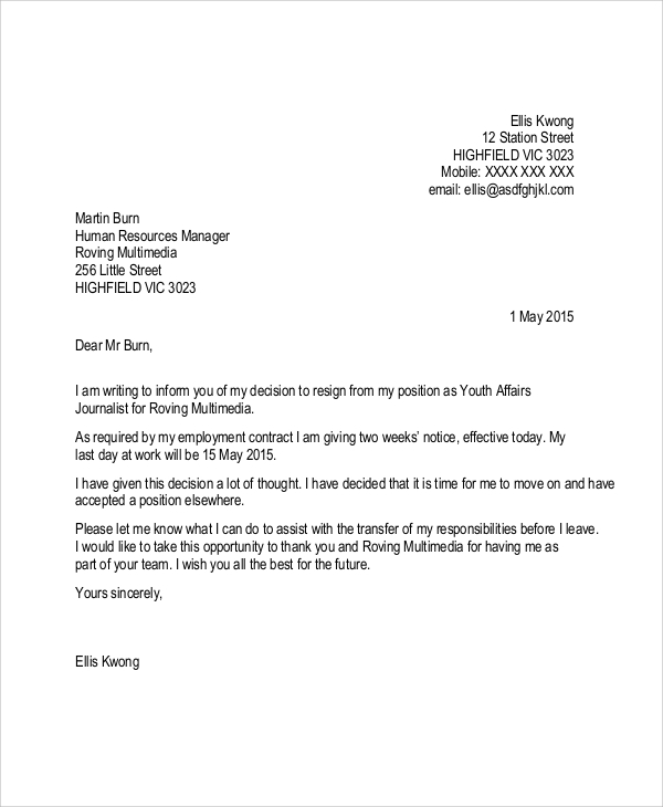 Week Resignation Letter Sample Resignation Letter  Weeks