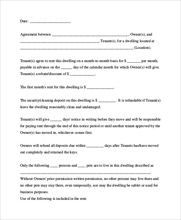 Month To Month Room Rental Agreement Sample