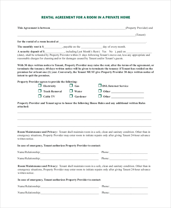 rental house rules template - 9 room rental agreement samples examples templates