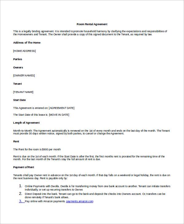 legal room rental agreement