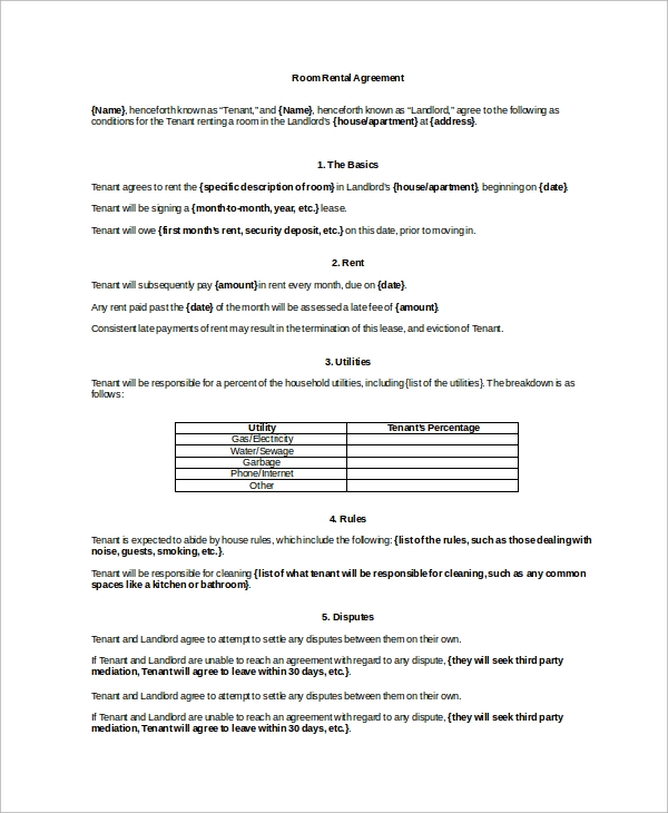 9+ Room Rental Agreement Samples, Examples, Templates