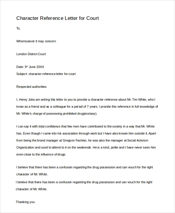 Sample Character Reference Letter   Examples In Pdf Word