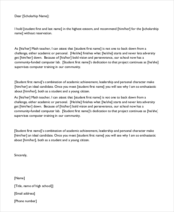 Character-Reference-Letter-For-Scholarship Community Service Letter Of Recommendation Template on community service thank you letter template, community service resume template, community service application template, community service certificates template,